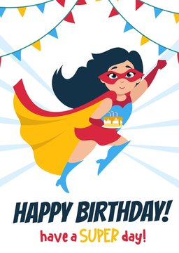 Cute Happy Birthday greeting card with girl vector illustration. Funny little child flying in superheroes costume and holding holiday cake. Childhood concept