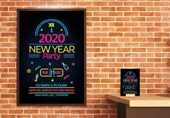 New Year's Eve Poster and Flyer Layout with Neon Style