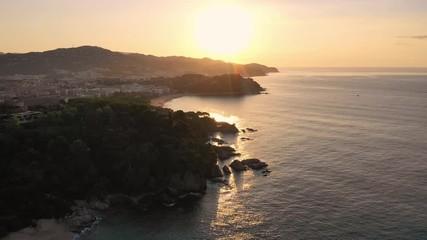 Fototapete - Sunrise over Spain seascape