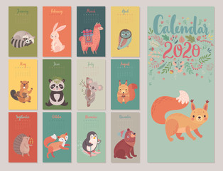 Fototapete - Calendar 2020 with Animals . Cute forest characters.