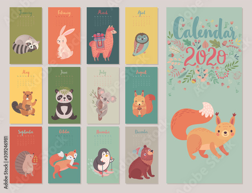 Wall mural Calendar 2020 with Animals . Cute forest characters.
