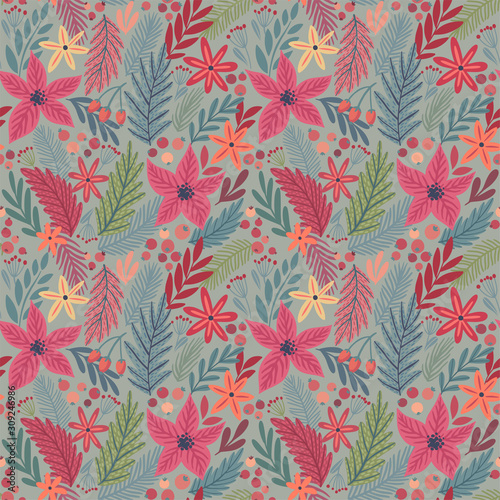 Wall mural Christmas Seamless floral pattern, hand drawn decorative elements.