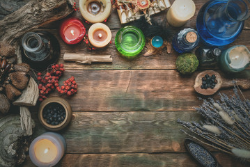 Magic potion on the wizard flat lay table background with copy space. Witchcraft, witch doctor concept.
