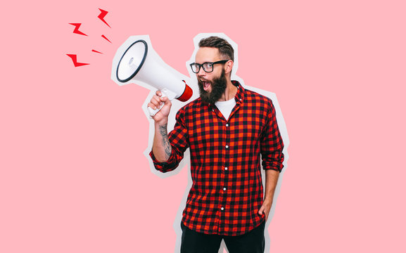 Fashion portrait of emotional hipster man with megaphone in stylish sunglasses. Sales man using megaphone yelling. Discount, sale, season sales.