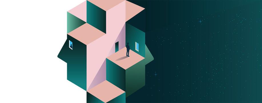 Psychology concept vector illustration. Mental health, depression, seasonal affected, sleep disorder. Psychiatry, philosophy