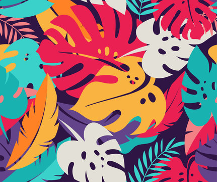 Tropical leaves, exotic colorful seamless pattern and background