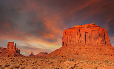 In de dag Baksteen Sunset sky over the Buttes of Monument Valley, Utah, USA