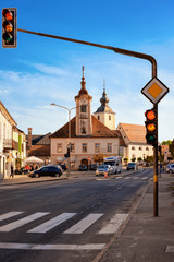 Fototapeten Osteuropa Main Liberty square with crossroads at Church in Slovenska Bistrica