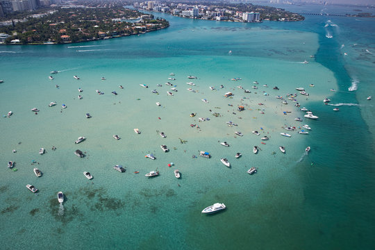 Aerial view of boats in sea in Miami, Florida, USA