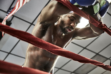 Low angle view of tired male boxer standing in boxing ring at health club