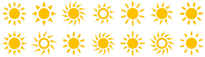Sun simple icons collection. Vector illustration Fotomurales