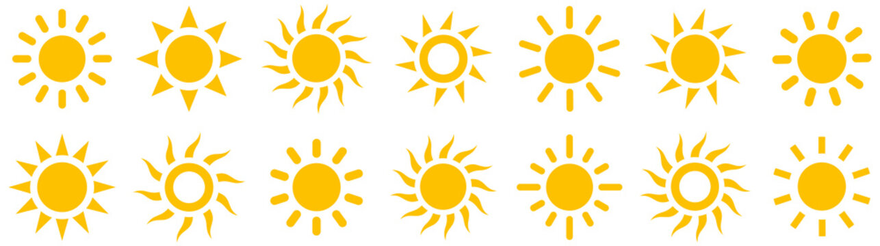 Sun simple icons collection. Vector illustration