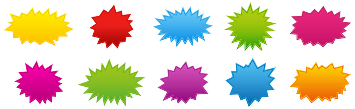 Starburst coloured speech bubbles collection. Vector