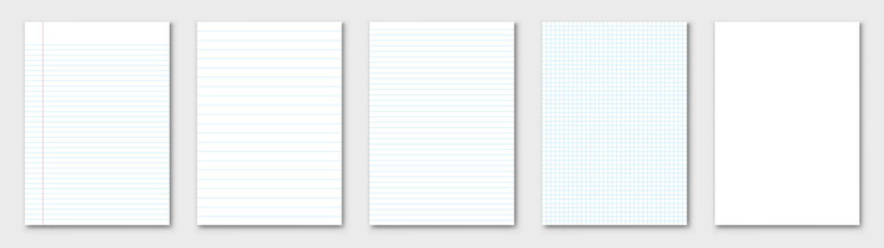 Blank sheet of paper. Lined paper set. Vector