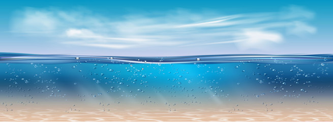 Foto auf Leinwand Blau Ocean landscape Realistic underwater background. Ocean deep water, sea under water level, sun rays blue wave horizon. Nature background with clouds. Water surface 3D vector concept.