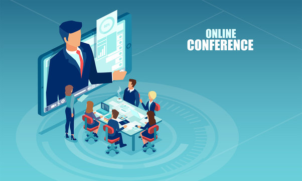 Vector of business people meeting in a office having conference call with a presenter.