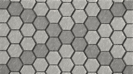 Wall Mural - Black and white monochrome pencil schetch hexagons background pattern.