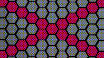 Wall Mural - Gray and Purple Comics effect hexagons background.