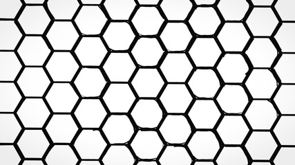Wall Mural - Black and white monochrome hexagons background pattern.