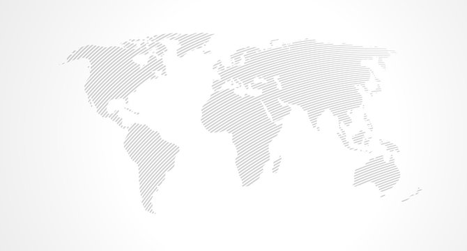 Map of World. Vector abstract line stripes minimalist design. Earth planet. Pattern for web, website, mobile app, template infographic banner, poster