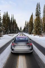 Foto auf Leinwand Grau Electric car driving, mountains snow