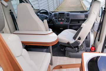 Camper Dining Room front van seat vanlife and steering wheel