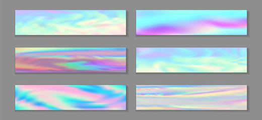 Holographic bright flyer horizontal fluid gradient mermaid backgrounds vector collection. Silk neon