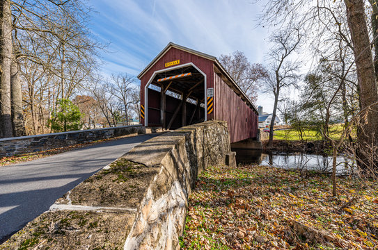 Zook's Mill Covered Bridge Spanning Cocalico Creek in Lancaster County, Pennsylvania