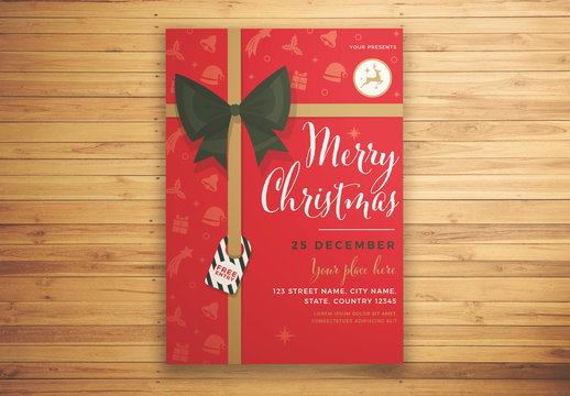 Christmas Event Invitation Flyer Layout with Ribbon Elements and Icons