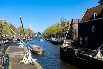 Beautiful landscape of Amstel river, Amsterdam, Netherlands