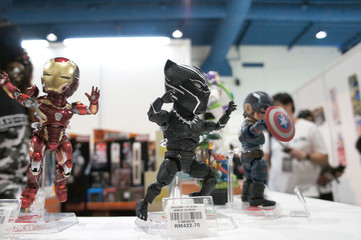 KUALA LUMPUR, MALAYSIA - NOVEMBER 26, 2018: Fictional character action figure BLACK PANTER from Marvel. The action figure displayed by the collector for public