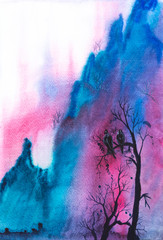 Foto auf Leinwand Rosa hell Abstract mountains landscape with dead tree and bird - watercolor painting illustration