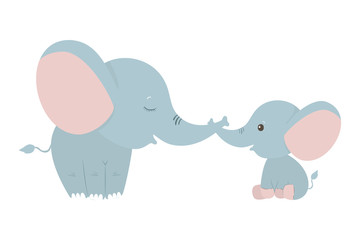 Isolated cute elephants cartoons vector design