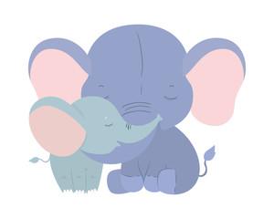 Isolated cute elephants cartoons vector design