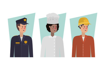 Isolated policeman chef and builder vector design