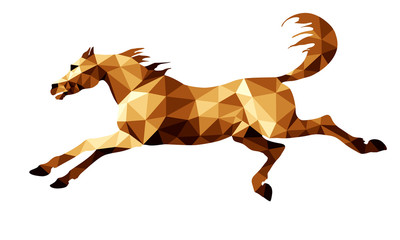 Printed roller blinds Ass galloping dark red horse isolated image on a white background in the style of low poly