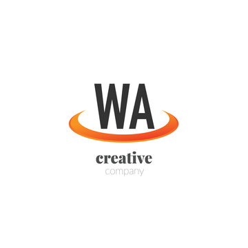 Initial Letter wa Creative Swoosh Design Logo. Logo template for brand or company