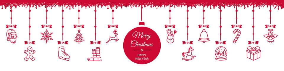Wall Mural - Merry christmas new year hanging decoration ball red white card background border vector isolated
