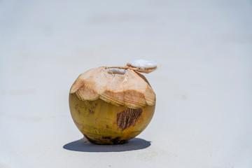 Fresh coconut on the sand beach, Zanzibar, Tanzania