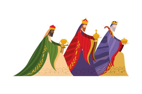 Three wise men of happy epiphany day vector design