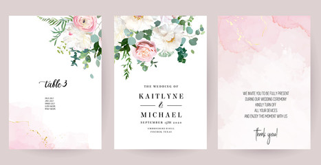 Elegant wedding cards with pink watercolor texture and spring flowers Fototapete