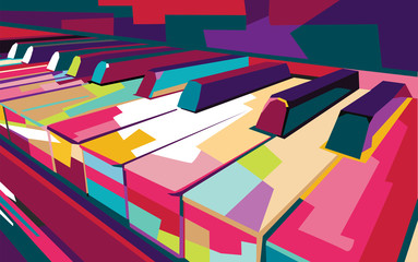 vektor piano pop art warna-warni, ilustrasi
