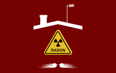Radon, a contaminant that affects indoor air quality worldwide. Illustration, silhouette of a house, roof, chimney, antenna,  and blank direction arrows. Risk of possible accumulation inside the home.