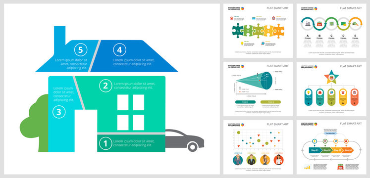 Colorful management or finance concept infographic charts set