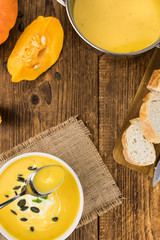 Fresh made Pumpkin Soup (close-up shot)