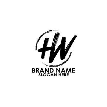 logo hw letter brush vector design