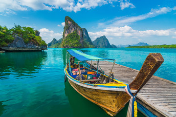 Beautiful nature scenic landscape Phang-Nga bay with wooden boat moored on pier waiting traveler, Water travel adventure Phuket Thailand, Tourism destination scenery Asia, Summer holiday vacation trip Fotomurales