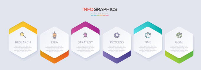 Obraz Concept of arrow business model with 6 successive steps. Six colorful graphic elements. Timeline design for brochure, presentation. Infographic design layout - fototapety do salonu