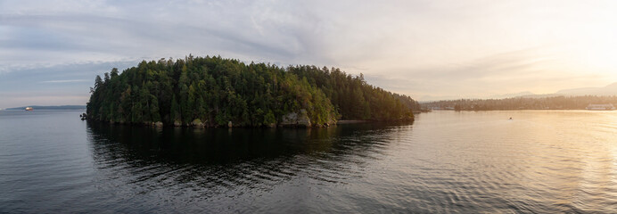 Wall Mural - Nanaimo, Vancouver Island, British Columbia, Canada. Panoramic View of Newcastle Island Marine Provincial Park during a colorful sunset.