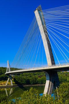 Stunningly beautiful Terenez bridge to the Crozon Peninsula. Finister. Brittany. France
